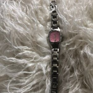 Gorgeous silver watch with pink face